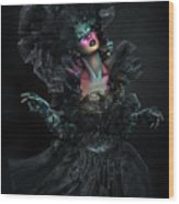 Woman In Black Gown And Headdress In Body Paint Wood Print