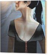 Woman In Black Wood Print
