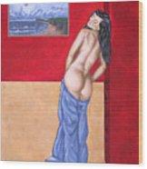 Woman In Blue Robe Wood Print