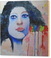 Woman In Blue Wood Print