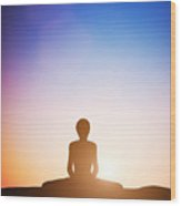 Woman In Bound Angle Yoga Pose Meditating At Sunset Wood Print