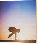 Woman In Crane Pose Yoga Pose Meditating At Sunset Wood Print