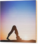 Woman In Dolphin Yoga Pose Meditating At Sunset Wood Print