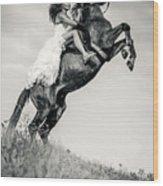 Woman In Dress Riding Chestnut Black Rearing Stallion Wood Print