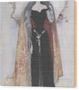 Woman In Evening Clothes And Cape Wood Print