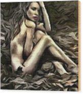 Woman  In Fall #0074 Wood Print