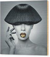 Woman In Fashionable Bangs Wood Print