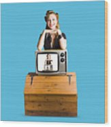 Woman  In Front Of Tv Camera Wood Print by Jorgo Photography - Wall Art Gallery