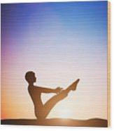 Woman In Full Boat Yoga Meditating At Sunset Wood Print