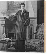 Woman In Fur Coat, C.1940s Wood Print