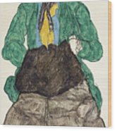 Woman In Green Blouse With Muff Wood Print