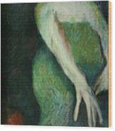 Woman In Green Wood Print