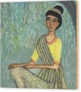 Woman In Grey And Yellow Sari Under Tree Wood Print