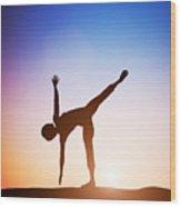 Woman In Half Moon Yoga Pose Meditating At Sunset Wood Print