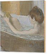 Woman In Her Bath Wood Print