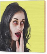 Woman In Horror Makeup Wood Print