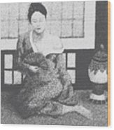 Woman In Kimono Wood Print by Don Perino