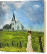Woman In Lace By A Country Church Wood Print