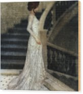 Woman In Lace Gown On Staircase Wood Print