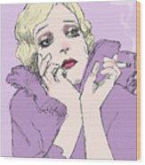 Woman In Lavender Wood Print