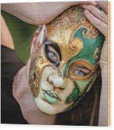 Woman In Mask Wood Print