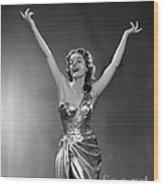 Woman In Metallic Dress, C.1950s Wood Print