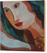 Woman In Orange And Blue Wood Print