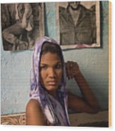 Woman In Purple Havana Cuba Wood Print