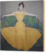 Woman In A Yellow Dress Wood Print