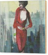 Woman In Red Dress By Condo Window Wood Print