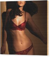 Woman In Red Lingerie Wood Print