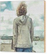 Woman In Rustico Harbor Prince Edward Island Wood Print