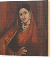Woman In Saree - After Raja Ravi Varma Wood Print
