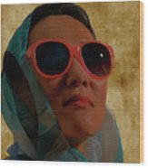 Woman In Scarf And Sunglasses Wood Print