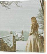 Woman In Snow Scene Wood Print
