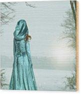 Woman In Snowy Landscape Wood Print