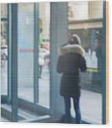 Woman In Storefront Wood Print