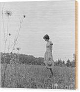 Woman In Summer Meadow, C.1970s Wood Print