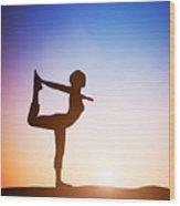 Woman In The Dancer Yoga Pose Meditating At Sunset Wood Print