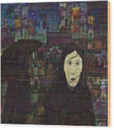 Woman In The Rain Wood Print