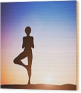 Woman In Tree Yoga Pose Meditating At Sunset Wood Print