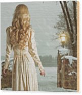 Woman In Winter Scene Wood Print