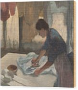 Woman Ironing Wood Print