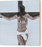 Woman Jesus On Cross I Wood Print