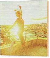 Woman Jumping At Oporto Wood Print