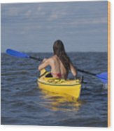 Woman Kayaking Wood Print
