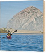 Woman Kayaking In Morro Bay Wood Print by Bill Brennan - Printscapes