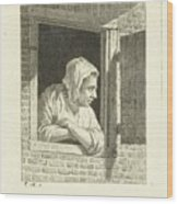 Woman Leaning On Arms In Window Opening Wood Print