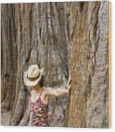 Woman Leaning On Giant Sequoia Tree Wood Print
