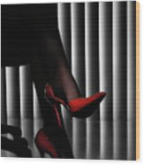 Woman Legs In Red Shoes Wood Print